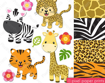 Zebra clipart baby shower And Clipart Etsy paper Tiger