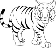 Tiiger clipart black and white #5