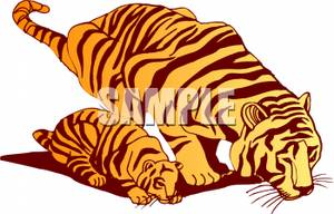 Tiger clipart mother and baby #5
