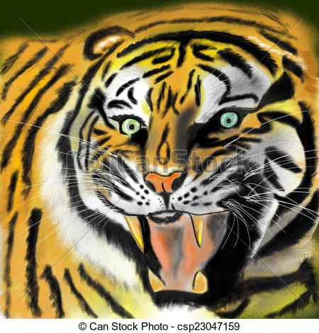 Tiger clipart open mouth #4