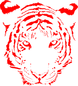 Tiger clipart red #8