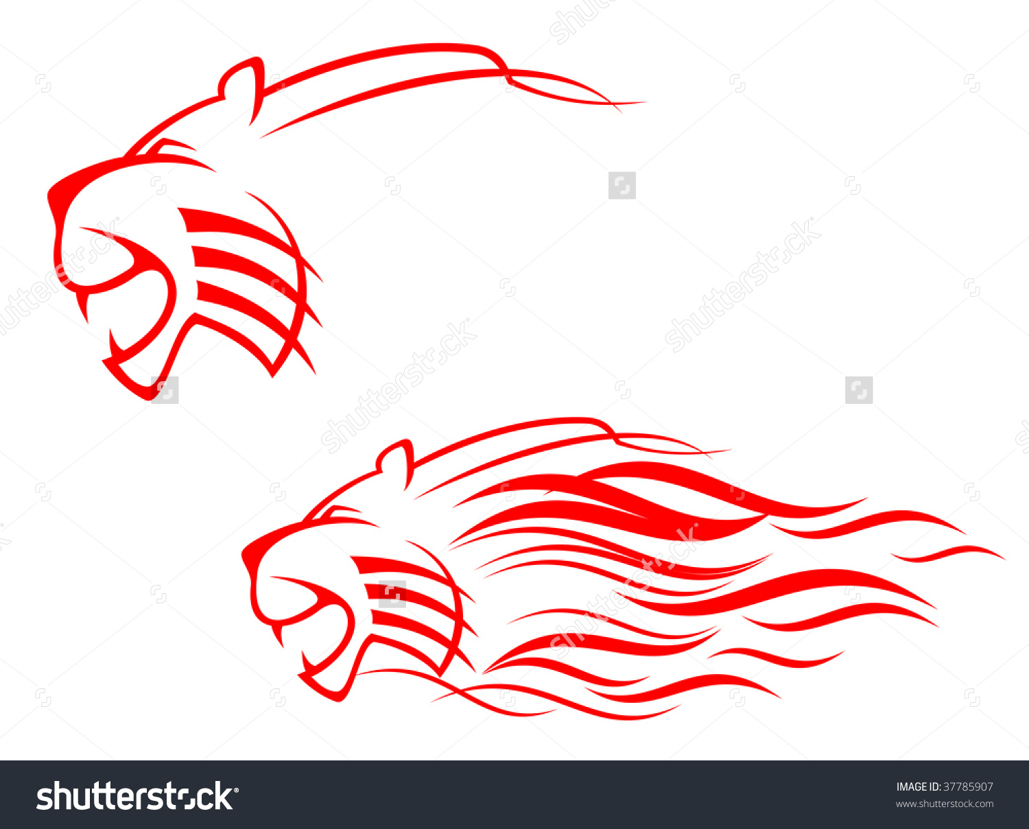 Tiger clipart red #6
