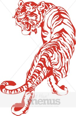 Tiger clipart red #4