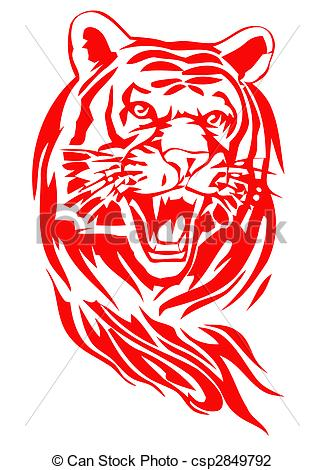 Tiger clipart red #2