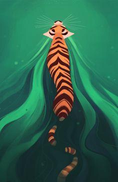 Tiger clipart swimming #8