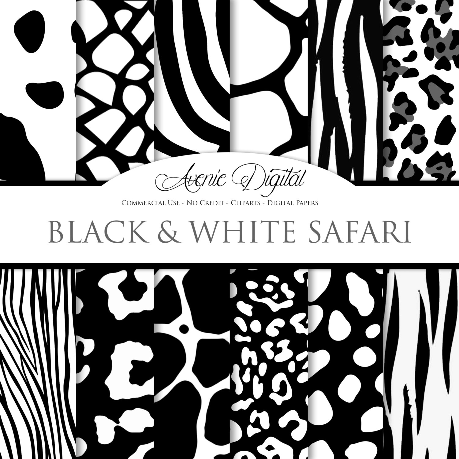 Tiger Print clipart black and white #15