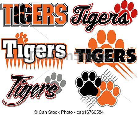 Word clipart tigers Of paw tigers  with