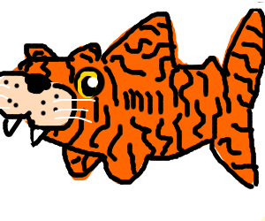 Tiger Shark clipart orange #2