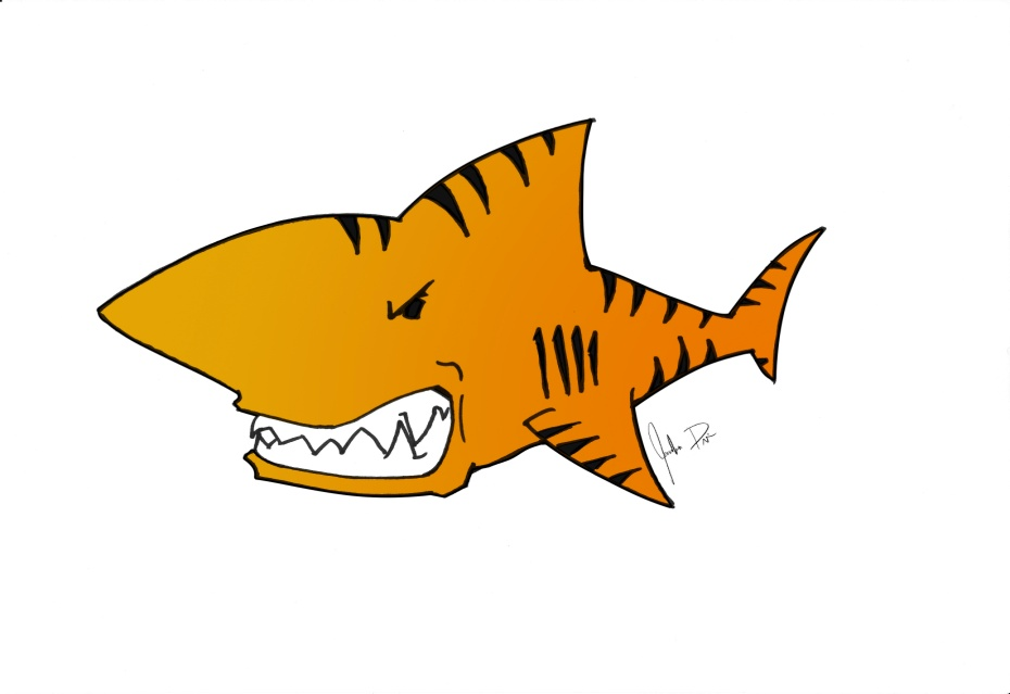 Tiger Shark clipart orange #3