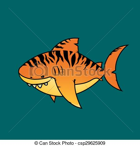 Tiger Shark clipart orange #1