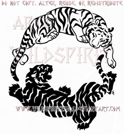 White Tiger clipart two DeviantArt WildSpiritWolf Yang Yin by