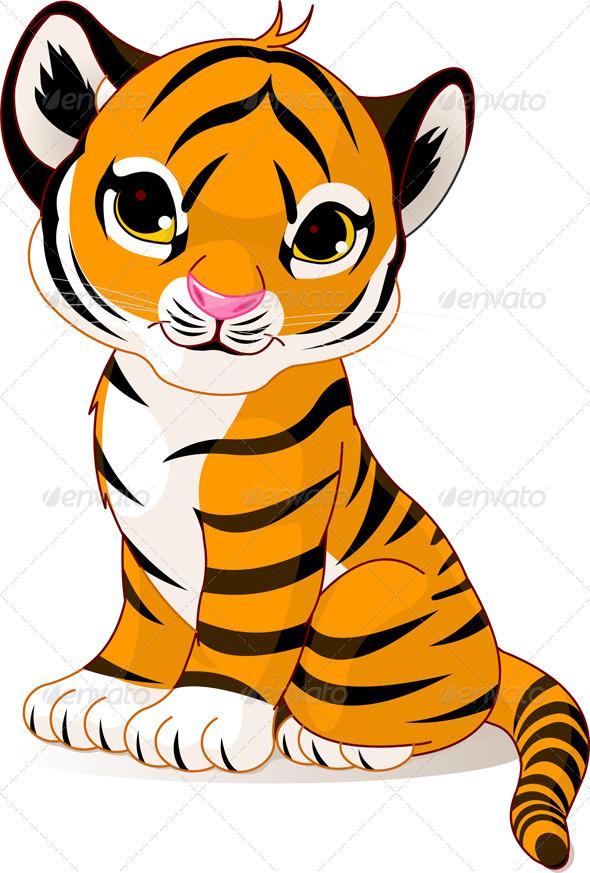 Tigres clipart realistic cartoon #9