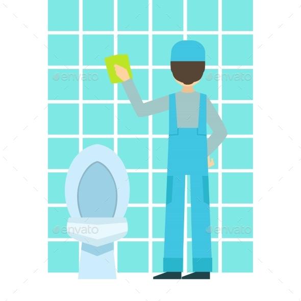 Tiles clipart washroom Cleaning Bathroom cleaning Man Bathroom