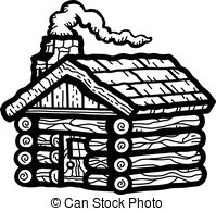 Timber clipart black and white Of a Cabin Clip on