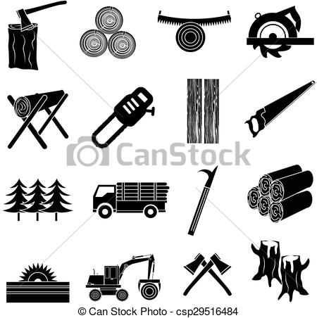 Timber clipart black and white Csp29516484  icons of Art