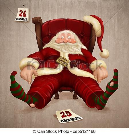 Santa clipart tired #5