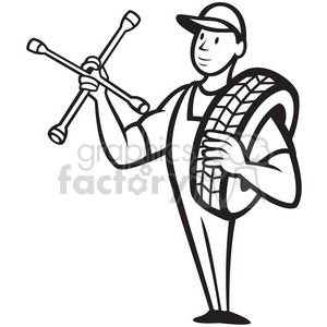 Tire clipart black and white EPS art wrench Free white