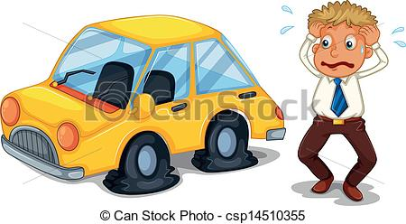 Problem clipart flat tire Tires worried car A Vector
