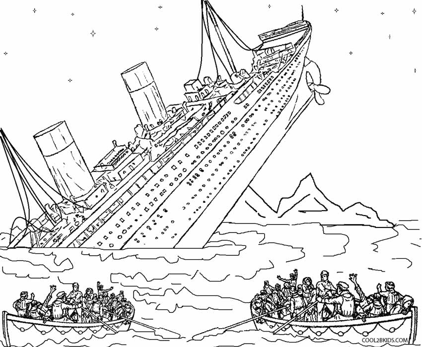 Titanic clipart outline Coloring Cool2bKids Sinking Kids Pages