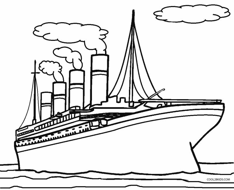 Titanic clipart outline Coloring Cool2bKids Coloring Kids Pages