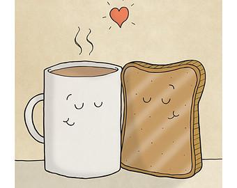 Toast clipart coffee and Toast Etsy Tea Illustration and