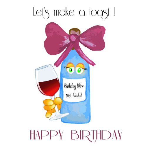 Wine clipart birthday  Happy Birthday eCards Wine