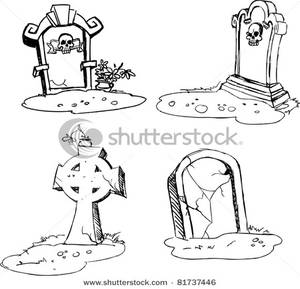 Tombstone clipart halloween tombstone Four Four Tombstones Image: Coloring