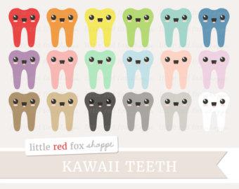 Teeth clipart kawaii Clipart tooth Clip Etsy Kawaii