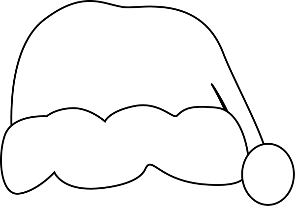 Santa Hat clipart black and white #1