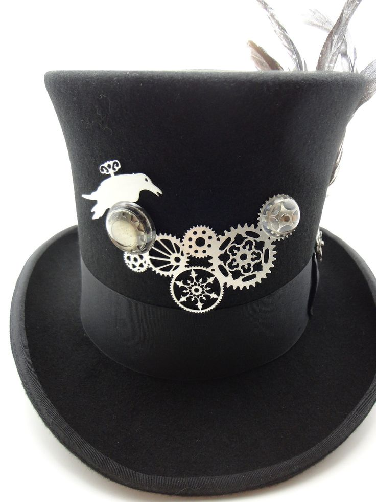 Top Hat clipart grey Large hat Feathers Black in