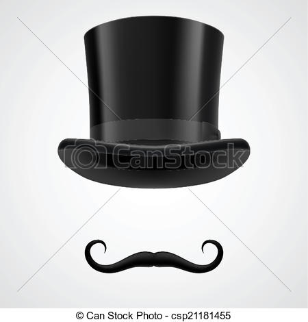Top Hat clipart illustration Hat and moustaches  victorian