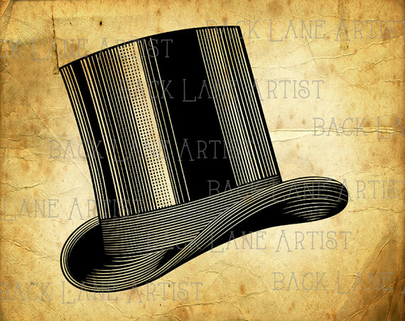 Top Hat clipart illustration Line Top Hat on BackLaneArtist