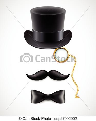 Drawn top hat mustache Illustration hat top bow Vector