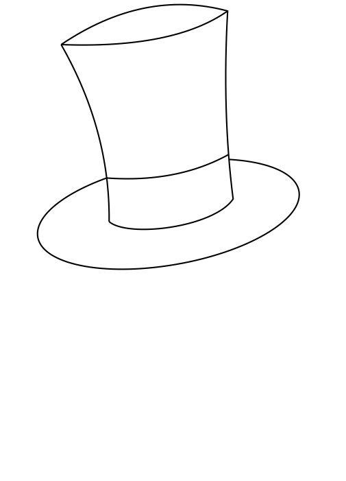 Drawn top hat Simple steps to a 8