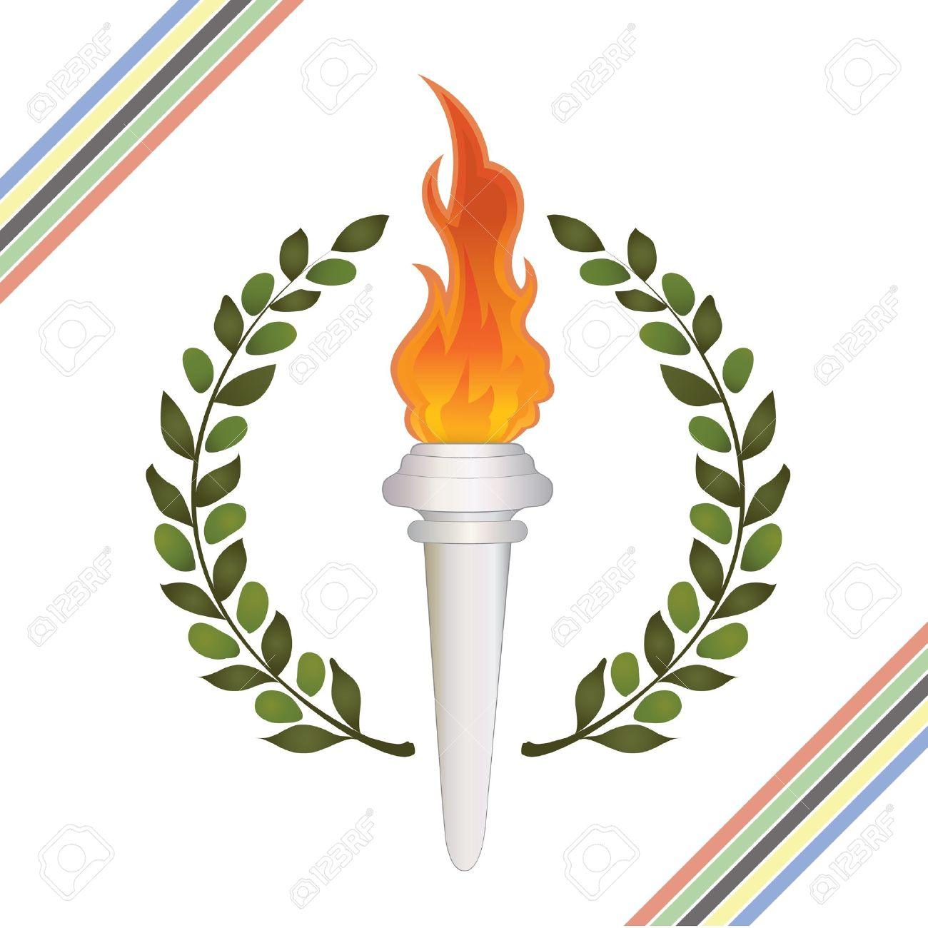 Torch clipart ancient greek Greek collection Competition wreath olympic