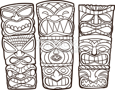 Totem Pole clipart drawn Illustration Drawings Vector Tiki Art