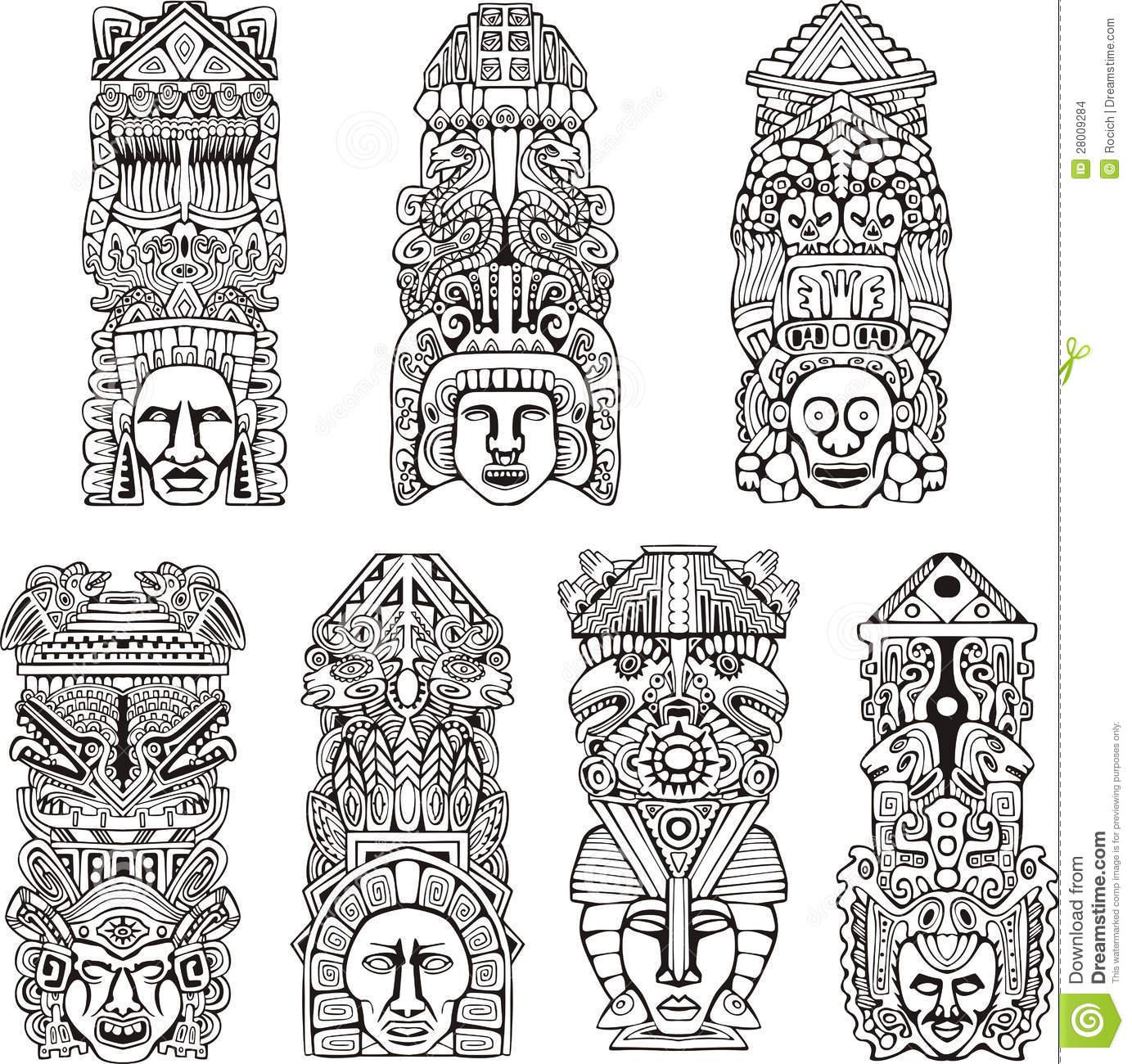 Totem Pole clipart inca Black white totem and Set