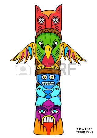 Totem Pole clipart inca D'images thème totem color un