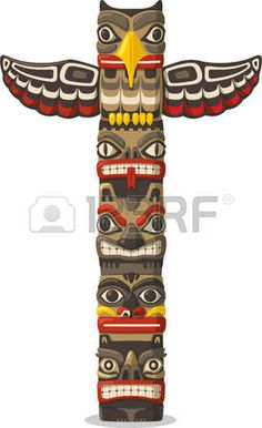 Totem Pole clipart iroquois Native vector illustration animal pole: