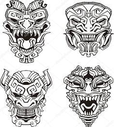 Totem Pole clipart japanese #16646499 Aztec masks totem Download