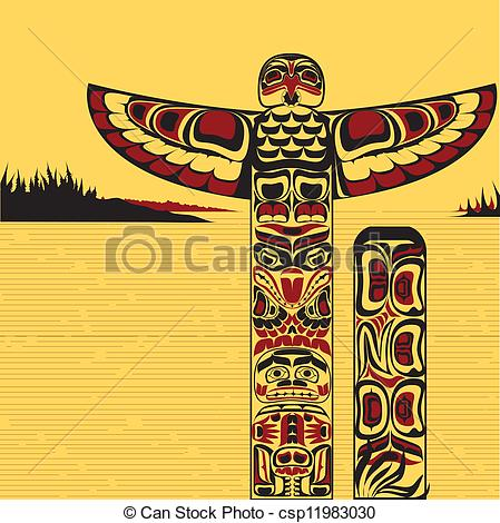 Totem Pole clipart japanese Vectors of a north Illustration