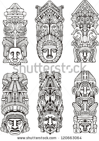Totem Pole clipart mayan Black white of mesoamerican illustrations
