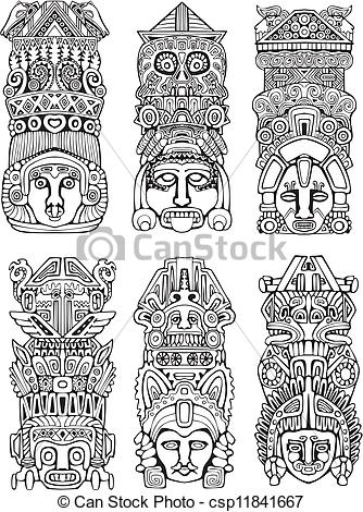 Totem Pole clipart mayan Totem Abstract Vector Aztec Clip