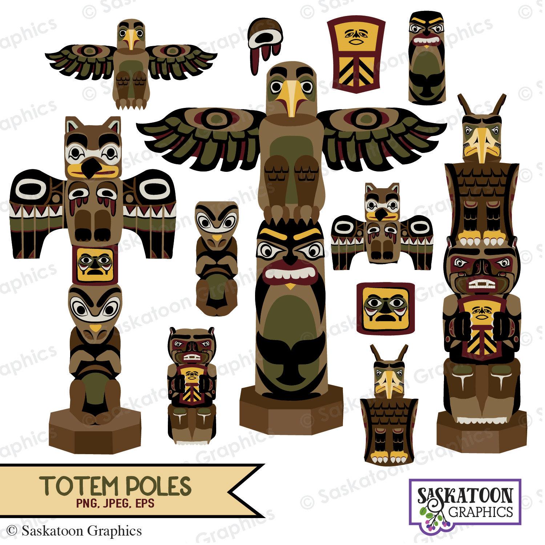 Totem Pole clipart paper Instant file Poles digital Clipart