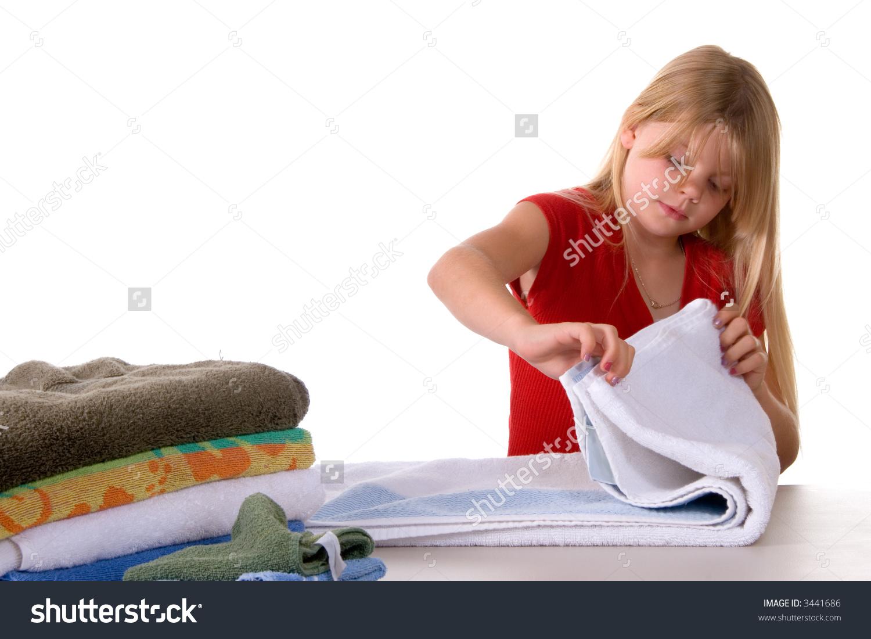 Towel clipart folding clothes Laundry Fold Towels children folding