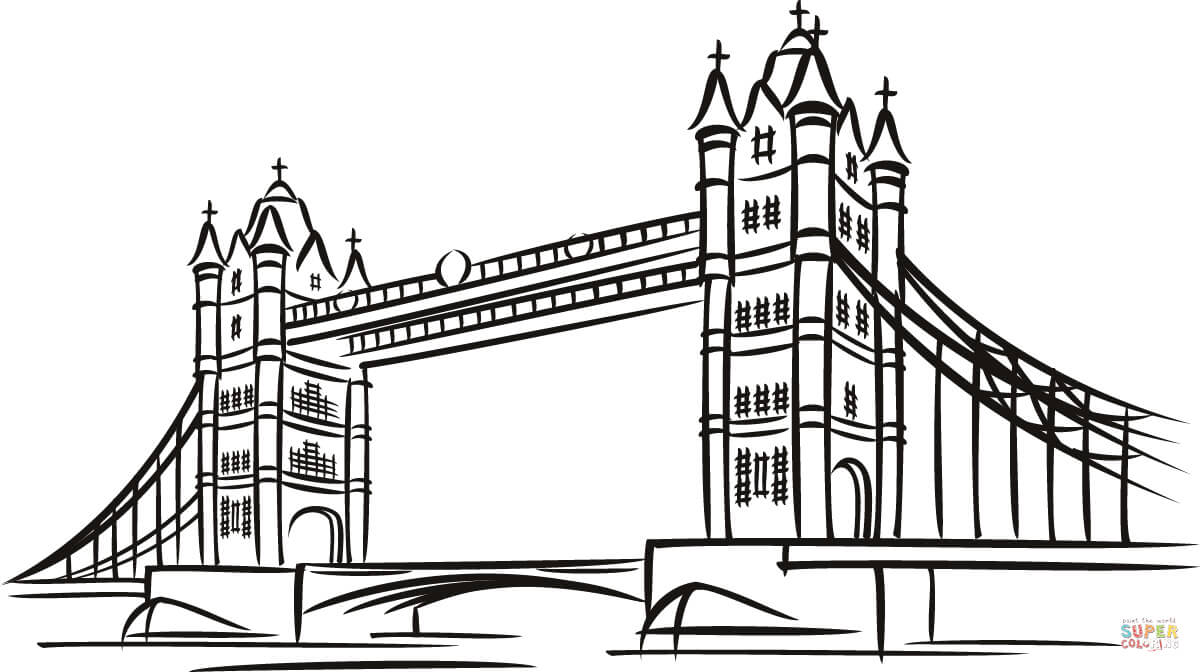 Tower Bridge clipart coloring The Printable in color version