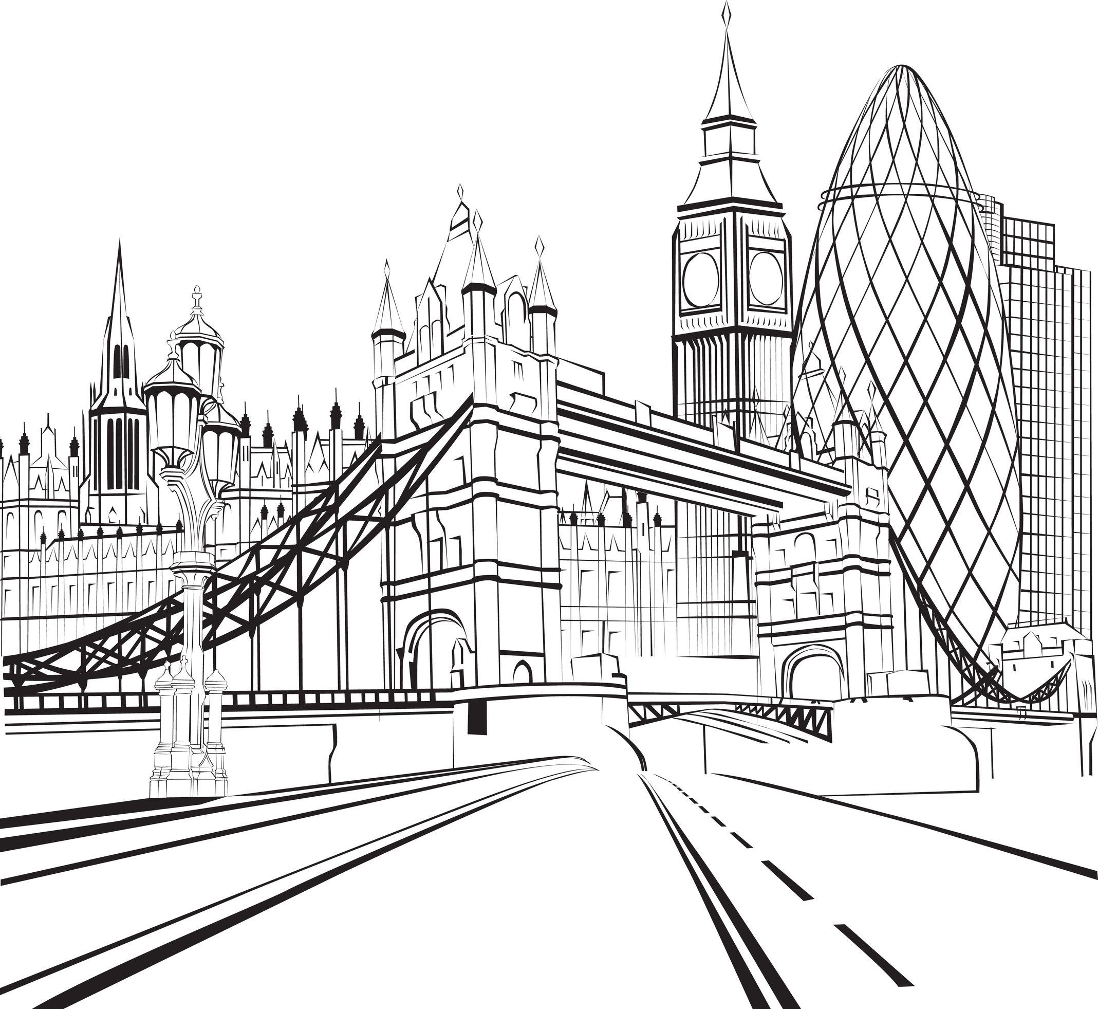 Tower Bridge clipart coloring This pour recherche Find adulte