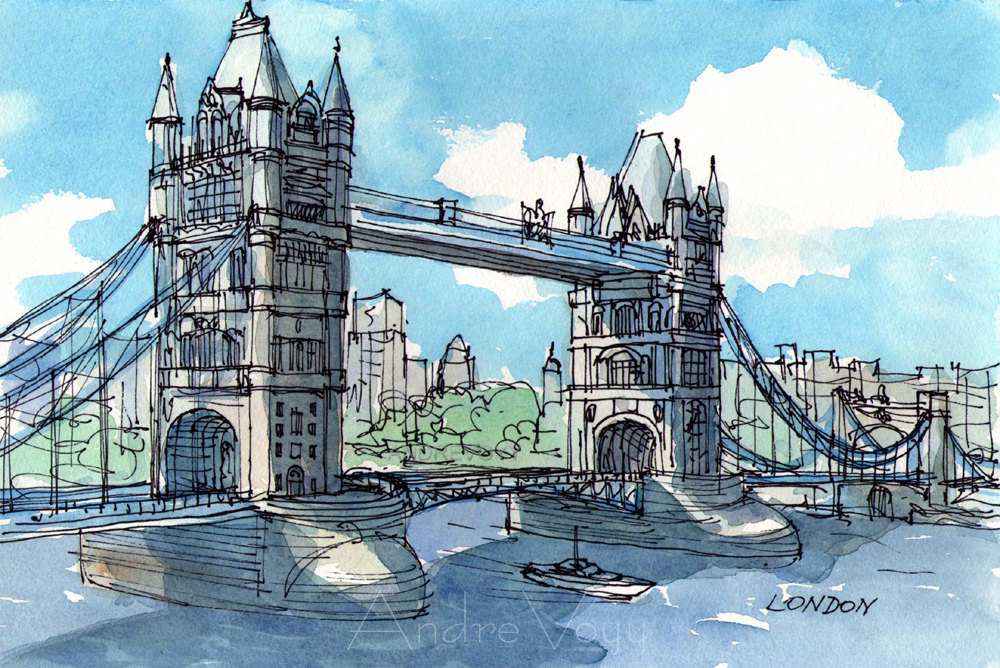 Tower Bridge clipart coloring Tower Etsy London London painting