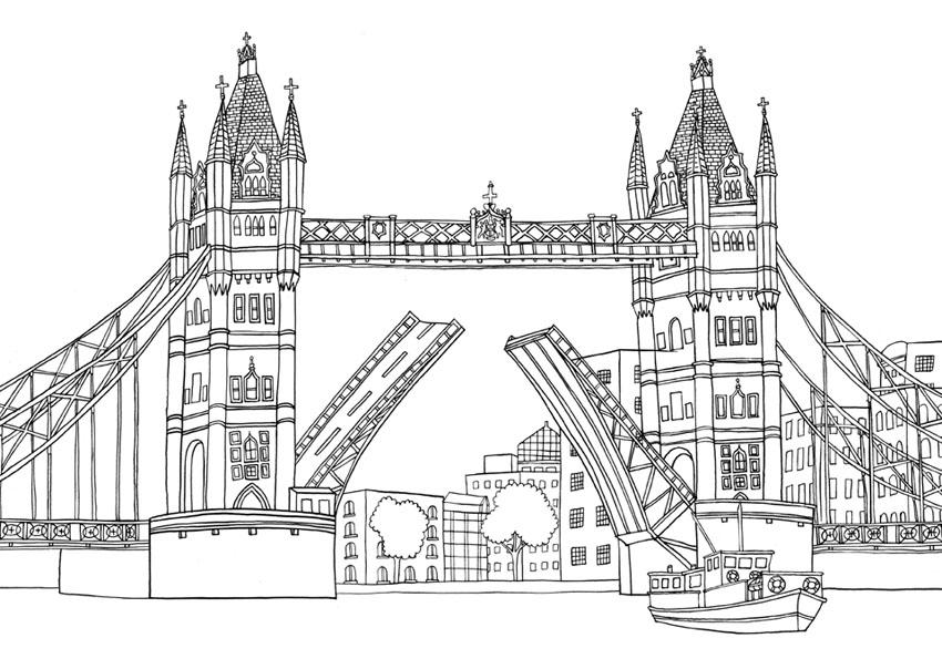 Tower Bridge clipart coloring LONDON  Farrarons BOOK Art