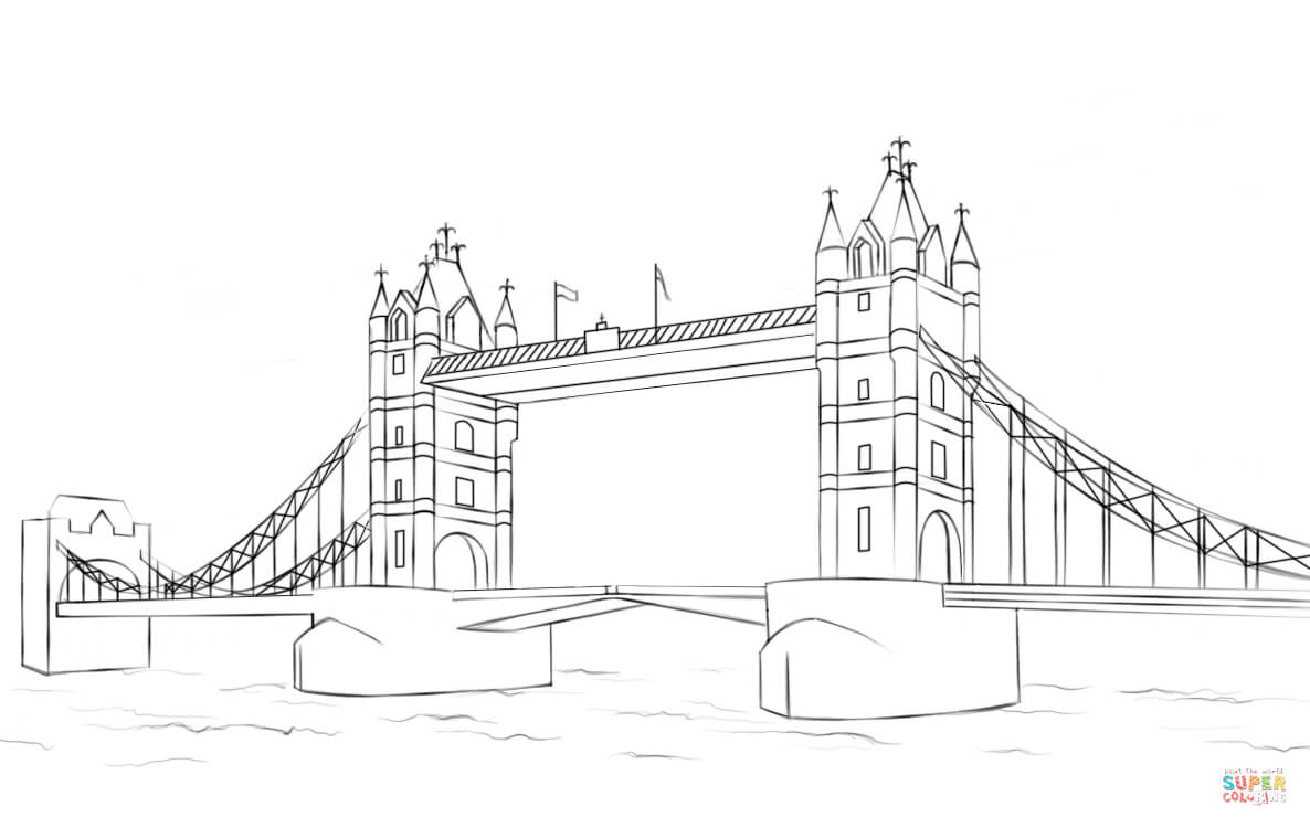 Drawn bridge tower bridge Printable coloring Tower Bridge Click